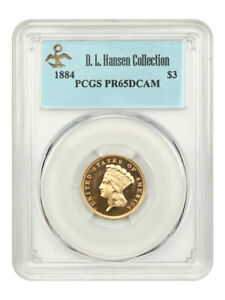 Click now to see the BUY IT NOW Price! 1884 $3 PCGS PR 65 DCAM EX: D.L. HANSEN   REMARKABLE PROOF    REMARKABLE PROOF