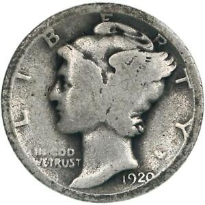 1920 MERCURY DIME 90  SILVER ABOUT GOOD AG