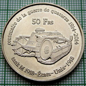 FRENCH SOUTHERN AND ANTARCTIC LANDS 2014 50 FRANCS WWI FORD M1918 TANK EXONUMIA