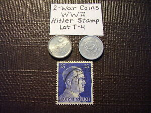 ALL 3  ITEMS   WW LL WAR COINS AND HITLER WAR STAMP OLD JAPAN  LOT T 4