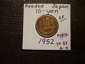FROM OLD JAPAN    REEDED     10 YEN  1952 YR.27  GEM A 3