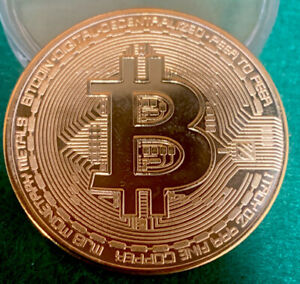 ONE BITCOIN PHYSICAL BITCOIN GOLD PLATED COLOR  CRYPTOCURRENCY COLLECTIBLE COIN
