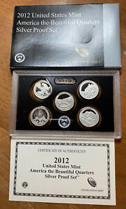 2012 S AMERICA THE BEAUTIFUL QUARTERS SILVER PROOF US MINT SET 25 CENTS 5 ATB