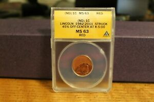 ND  LINCOLN 1982 2011 STRUCK 45  OFF CENTER AT K 5 00 MS 63 RED