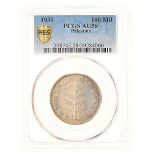 Click now to see the BUY IT NOW Price! [877787] COIN PALESTINE 100 MILS 1931 KEY DATE PCGS AU58 SILVER KM:7