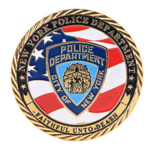 NEW YORK POLICE DEPARTMENT GOLD PLATED COMMEMORATIVE CHALLENGE COIN COLLEC U8_A