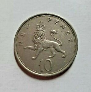 GREAT BRITAIN 10 NEW PENCE 1975   UK   QEII ELIZABETH II   CROWNED LION