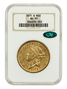 1871 S $20 NGC/CAC AU55  OH    LIBERTY DOUBLE EAGLE   GOLD COIN   OLD NGC HOLDER