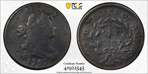 1797 FLOWING HAIR CENT REV OF 95 GRIPPED EDGE   PCGS VG DETAILS S 120B