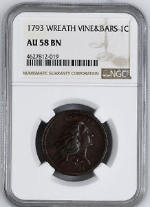 Click now to see the BUY IT NOW Price! 1793 WREATH 1C NGC AU 58 BN