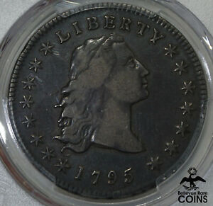 1795 UNITED STATES $1 FLOWING BUST 3 LEAVES SILVER COIN PCGS VF25 NICE WINGS