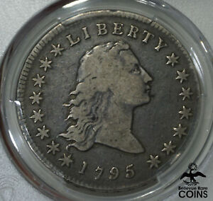 1795 UNITED STATES $1 FLOWING BUST 2 LEAVES SILVER DOLLAR COIN PCGS F12