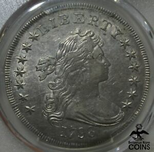1798 UNITED STATES $1 DRAPED BUST HERALDIC EAGLE COIN LARGE EAGLE PCGS AU53