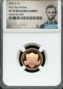 2021 S LINCOLN CENT FIRST DAY OF ISSUE NGC PF70 ULTRA CAMEO  PORTRAIT