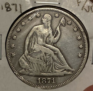 1871 SEATED LIBERTY HALF DOLLAR 50C UNGRADED SILVER US COIN