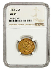 1868 S $5 NGC AU55   AN UNDERRATED DATE   LIBERTY HALF EAGLE   GOLD COIN