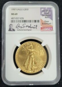 1987 AMERICAN GOLD EAGLE AGE G$50 NGC MS 69 HAND SIGNED DON EVERHART SIGNATURE