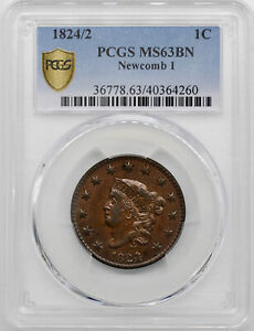 Click now to see the BUY IT NOW Price! 1824/2 CORONET HEAD 1C PCGS MS 63 BN