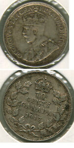 1917 CANADA 10 CENTS COIN