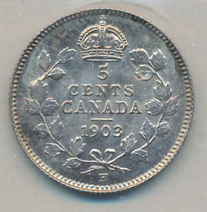 CANADA EDWARD VII SILVER 5 CENTS 1903 H SMALL H   ICCS MS 64