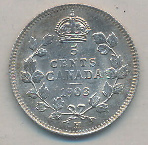 CANADA EDWARD VII SILVER 5 CENTS 1903 H LARGE H   ICCS MS 65