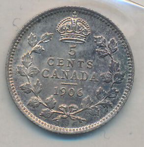 CANADA EDWARD VII SILVER 5 CENTS 1906   ICCS MS 63