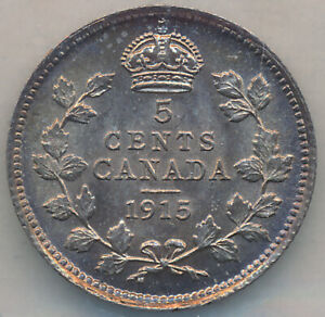 CANADA GEORGE V SILVER 5 CENTS 1915   ICCS MS 64