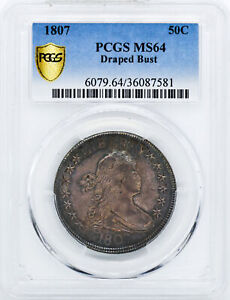 Click now to see the BUY IT NOW Price! 1807 DRAPED BUST 50C PCGS MS 64