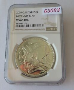 Click now to see the BUY IT NOW Price! 2003 SILVER BRITANNIA  2 POUND COIN   CERTIFIED BY NGC TO BE MS 68 DPL   65093