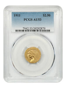 1911 $2 1/2 PCGS AU53   2.50 INDIAN GOLD COIN