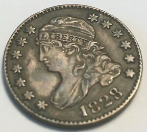 1828 LD CAPED BUST DIME JR 2 LARGE DATE XF