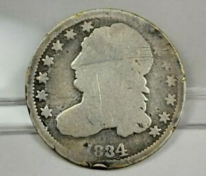 1834 10C CAPPED BUST DIME AG 90  SILVER COLLECTIBLE TYPE COIN  EZ103