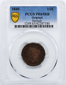 Click now to see the BUY IT NOW Price! 1840 BRAIDED HAIR 1/2C PCGS PR 65 RB