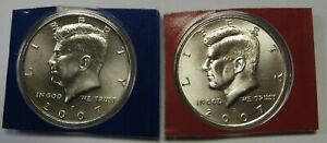 2007 P AND 2007 D UNCIRCULATED KENNEDY HALF DOLLARS ORIGINAL MINT CELLO PACKS
