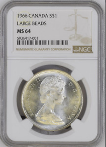 Click now to see the BUY IT NOW Price! :1966 S$1 DOLLAR ELIZABETH II CANADA KM 58 SELECT BU NGC MS 64 HIGHEST GRADES