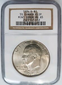 1974 D EISENHOWER DOLLAR IKE NGC MS 65 CURVED CLIP 5  CLIPPED MINT ERROR COIN