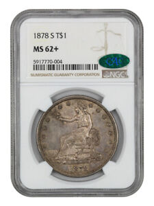 1878 S TRADE$ NGC/CAC MS62    GREAT TYPE COIN   US TRADE DOLLAR
