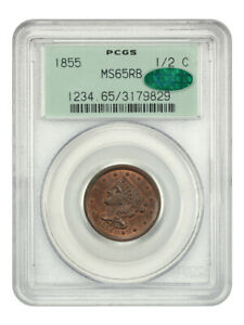 1855 1/2C PCGS/CAC MS65 RB   BRAIDED HAIR HALF CENTS  1840 1857