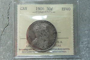 1906 CANADA SILVER FIFTY 50 CENTS   ICCS EF 40