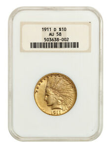 1911 D $10 NGC AU58  OH  KEY DATE OLD NGC HOLDER   INDIAN EAGLE   GOLD COIN