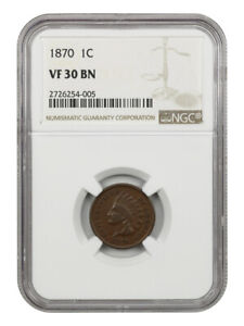 1870 1C NGC VF30 BN    DATE   INDIAN CENT    DATE