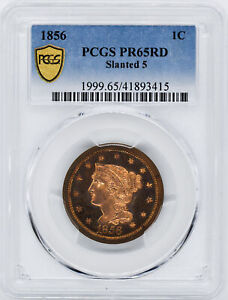 Click now to see the BUY IT NOW Price! 1856 BRAIDED HAIR 1C PCGS PR 65 RD