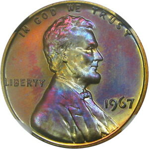 1967 1C NGC MS68RB SMS LINCOLN MEMORIAL   EXCEPTIONAL RAINBOW COLOR