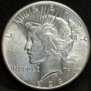 1928   P PEACE SILVER DOLLAR  AU   /MS KEY DATE COIN MINTAGE 360 649