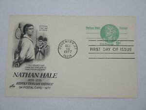US POSTAL CARD NATHAN HALE REVOLUTIONARY PATRIOT 1977 FIRST DAY ISSUE 9C