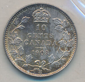 CANADA EDWARD VII 10 CENTS 1903 H   ICCS MS 65