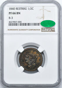 Click now to see the BUY IT NOW Price! 1840 BRAIDED HAIR 1/2C NGC PR 66 BN