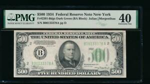 AC 1934 $500 FIVE HUNDRED DOLLAR BILL NEW YORK PMG 40 COMMENT