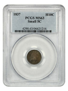 1837 H10C PCGS MS63  SMALL 5C  POPULAR VARIETY   EARLY HALF DIMES