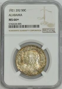 Click now to see the BUY IT NOW Price! 1921 ALABAMA 2X2 50C MS66  NGC 943455 4